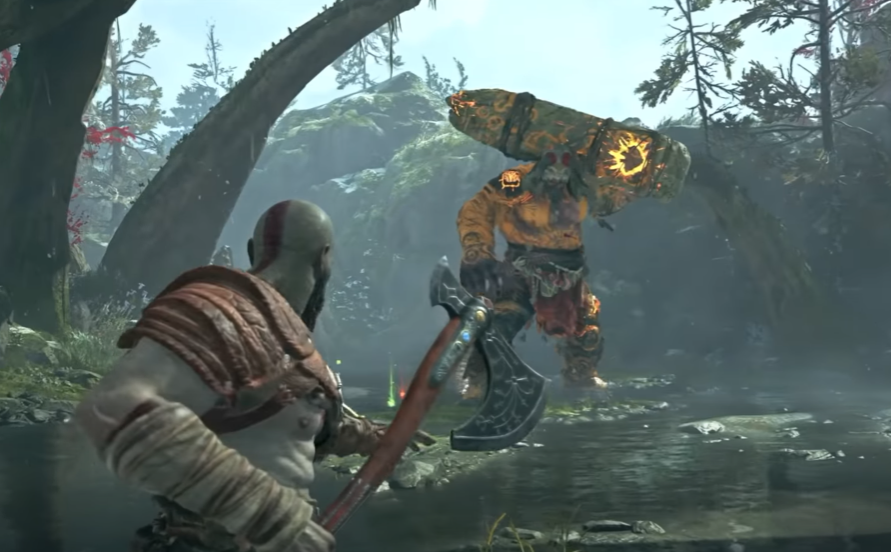 Kratos fights a Giant