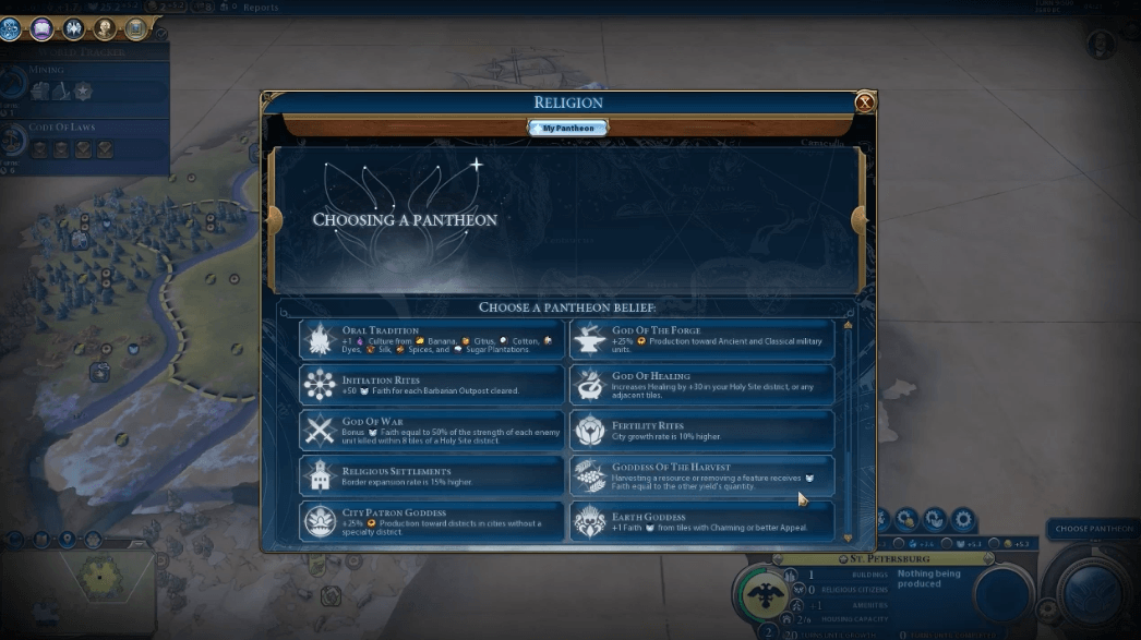 Best Pantheons in Civ 6