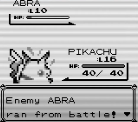 Abra teleports away from the fight