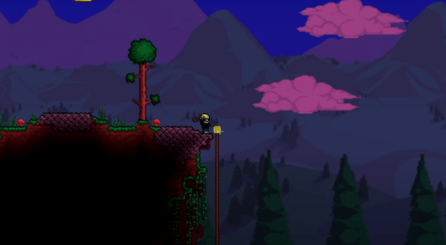 Crafting a rope at dusk - Terraria