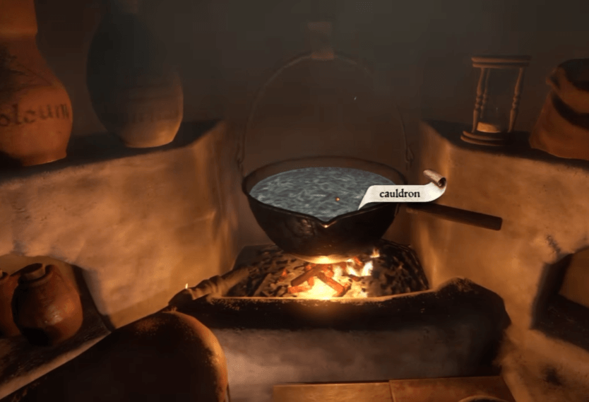 Brewing the potion in the Cauldron