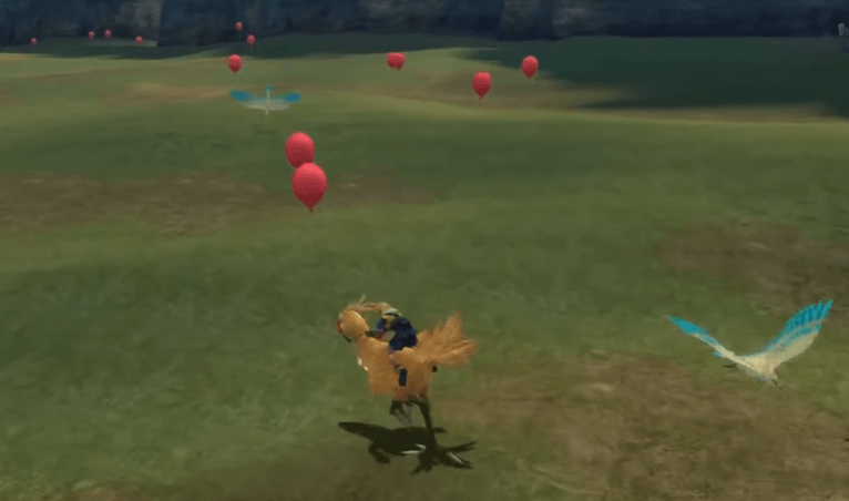 Collect the red balloons to reduce your overall time in the Chocobo race
