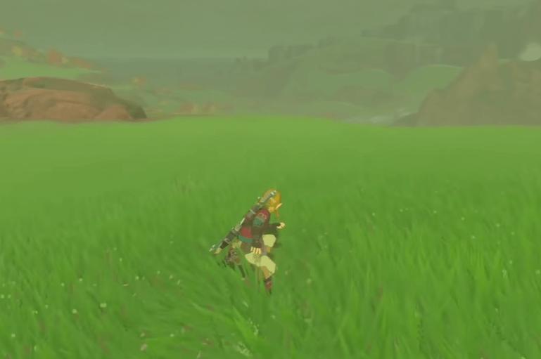 Link shield surfing through the grass