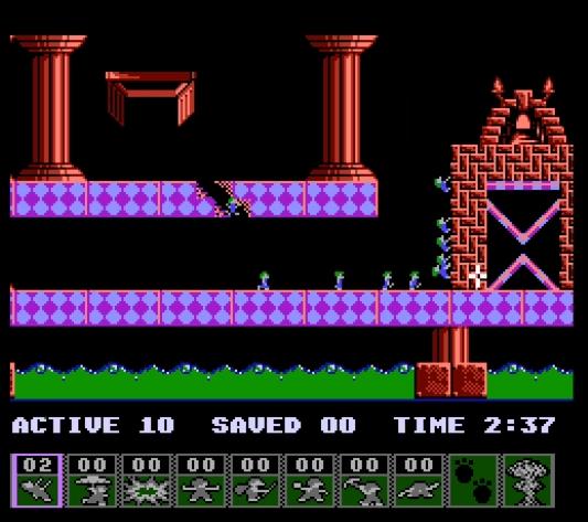 Lemmings NES gameplay