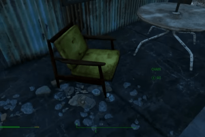 Find a chair to sit down in order to rest in Fallout 4