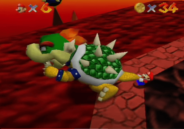 Grab Bowser by the tail in order to throw him on explosive mines